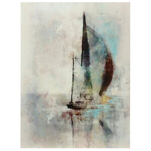 Hazy Sailboat Painting Print on Canvas by Breakwater Bay