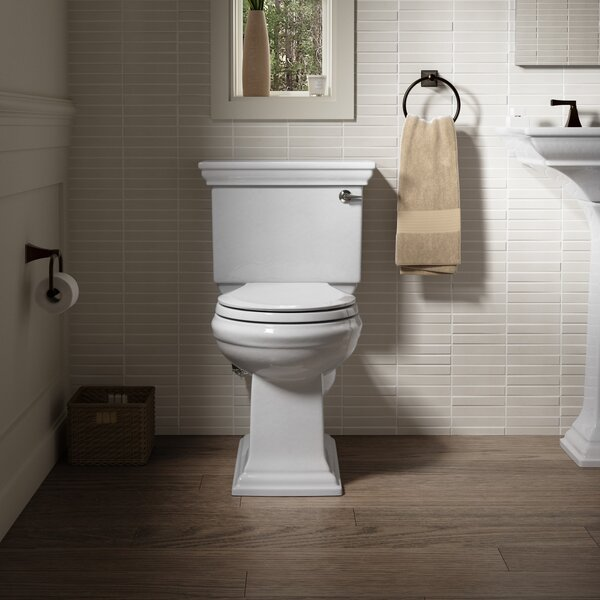 Memoirs Stately Stately Comfort Height Two-Piece Round-Front 1.28 GPF Toilet with Aquapiston Flush Technology and Right-Hand Trip Lever by Kohler