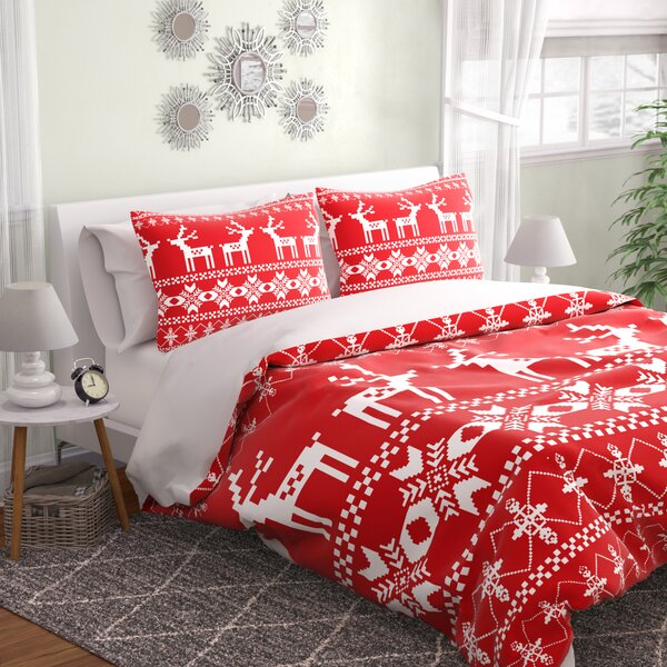 Christmas Red Deer Duvet Cover Set by East Urban H