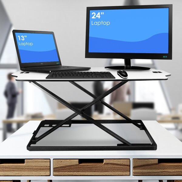 Wimbley Adjustable Work Station Standing Desk Converter by Symple Stuff