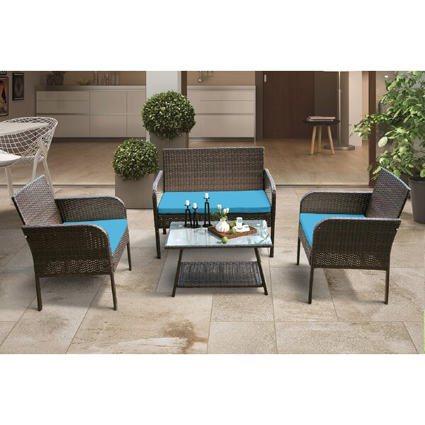 Chewsville 4 Piece Rattan Sofa Seating Group with Cushions by Latitude Run
