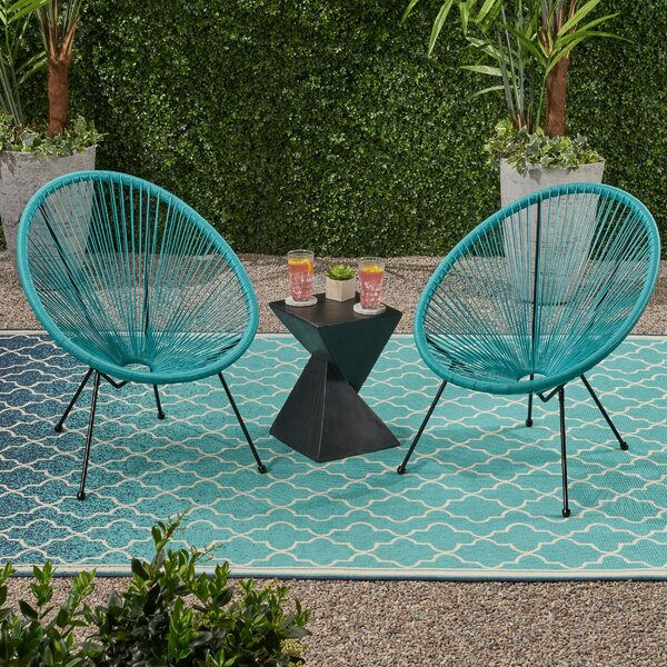 Mcclay Outdoor Hammock Weave Patio Chair (Set Of 2) By Bungalow Rose