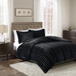 Borrero Faux Fur 3 Piece Comforter Mini Set