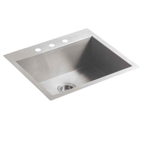 Vault 25 L x 22 W x 9.31 Top-Mount/Undermount Medium Single Bowl Kitchen Sink with 3 Faucet Holes by Kohler