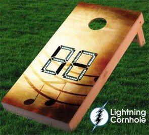 Electronic Scoring Music Notes Cornhole Board by Lightning Cornhole