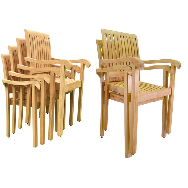 Douthett Stacking Teak Patio Dining Chair (Set of 6) by Rosecliff Heights