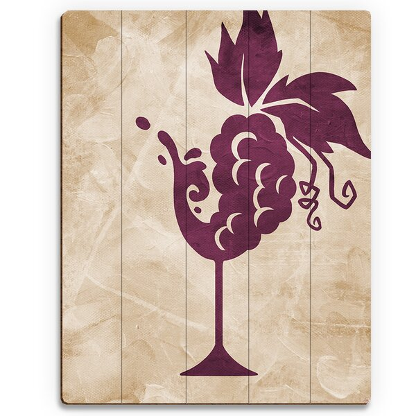 Grape Vine Glass Graphic Art on Plaque by Click Wall Art