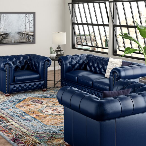 Forsyth Leather 3 Piece Living Room Set by Trent Austin Design