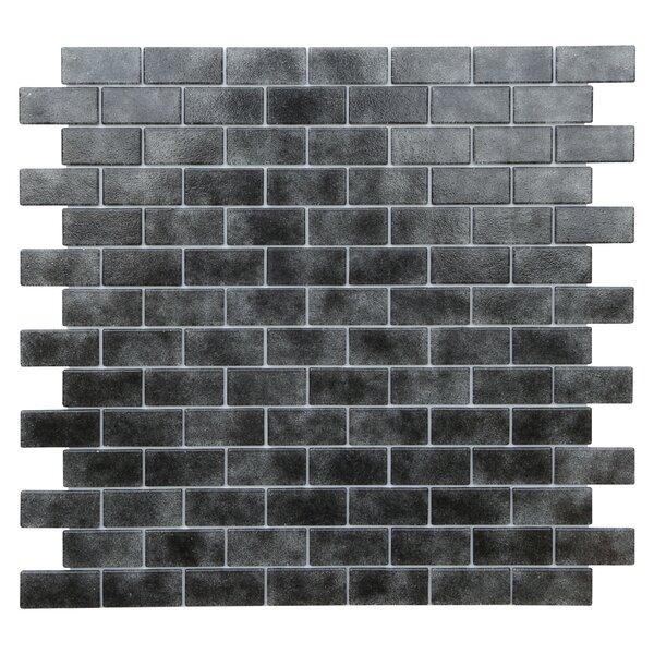 Quartz 0.75 x 1.63 Glass Mosaic Tile in Black/Gray by Kellani