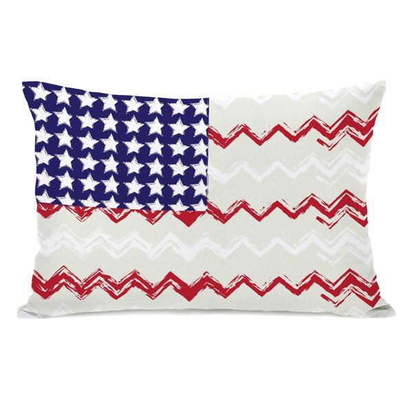 Chevron American Flag Lumbar Pillow by One Bella Casa