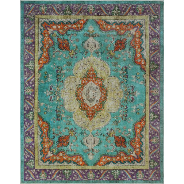 Bunyard Vintage Distressed Overdyed Hand Knotted Wool Blue Area Rug by Bloomsbury Market