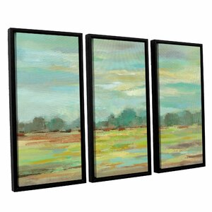 'Teal Forest Crop' 3 Piece Framed Painting Print on Canvas Set by Highland Dunes