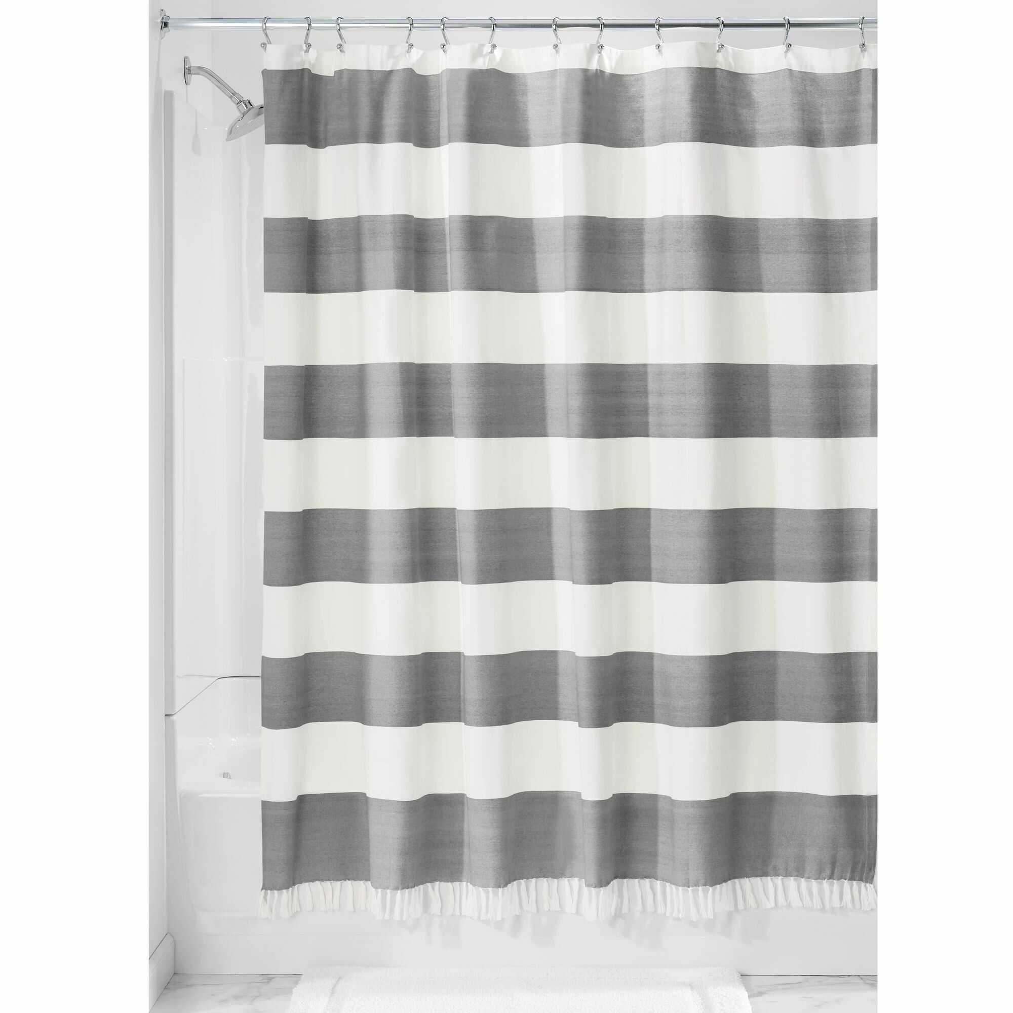 Rideout Wide Stripe Fringe Single Shower Curtain