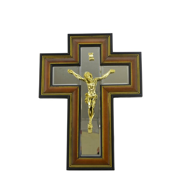 Decorative Jesus on Framed Mirrored Cross by Three Star Im/Ex Inc.