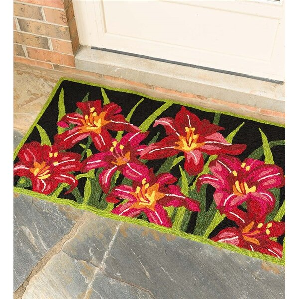 Tiger Lilies Black/Red/Green Indoor/Outdoor Area Rug by Plow & Hearth