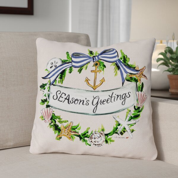 Seasons Greetings Nautical Wreath Frame Throw Pillow by The Holiday Aisle