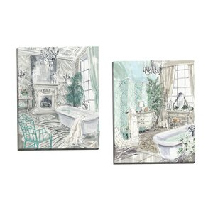 'Classical Bath I' 2 Piece Painting Print on Wrapped Canvas Set by Willa Arlo Interiors