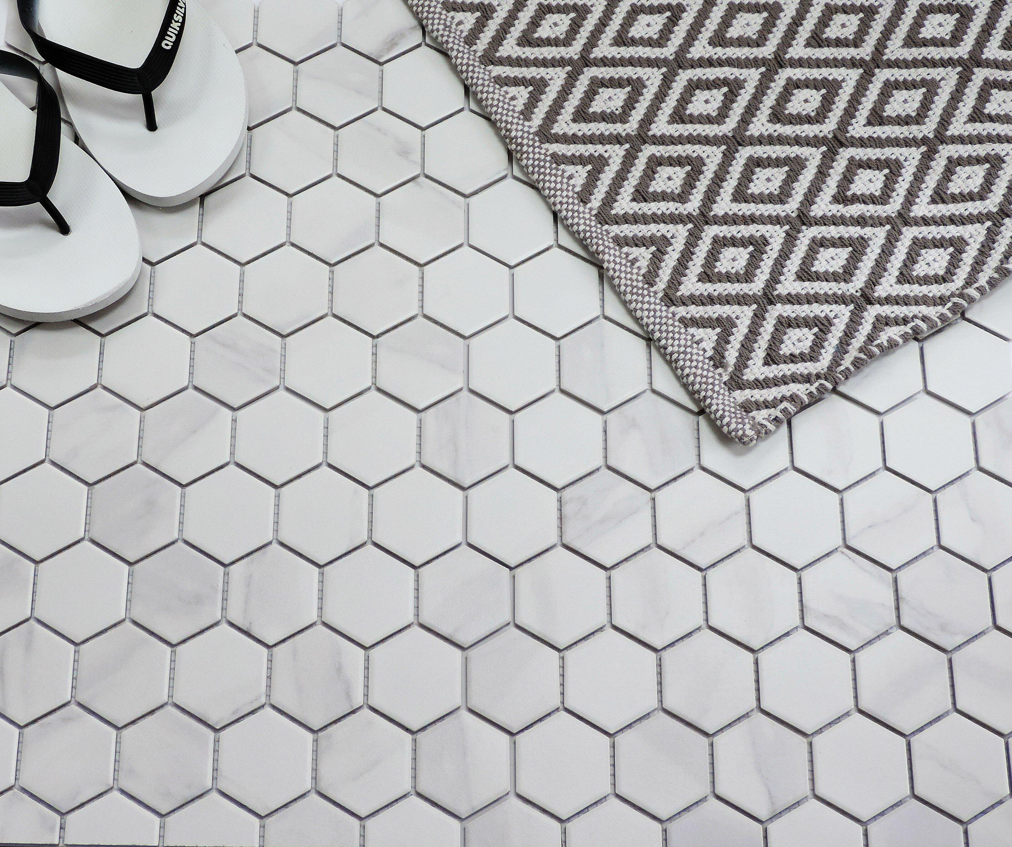 Barcelona 2 X Porcelain Mosaic Tile In Carrara Marble