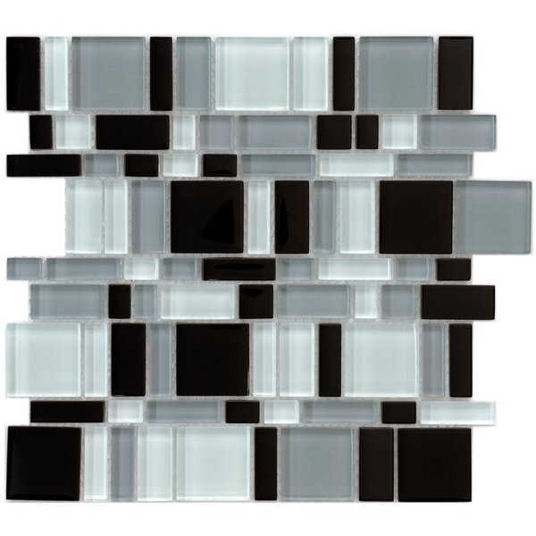 Sierra Random Sized Glass Mosaic Tile in Black/White by EliteTile
