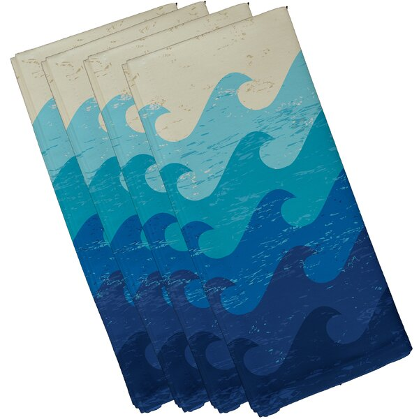 Golden Beach Deep Sea Geometric Napkin (Set of 4) by Bay Isle Home