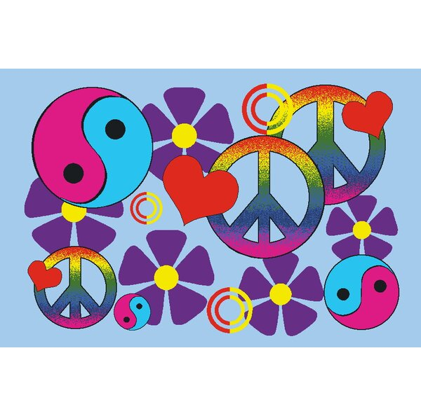 Fun Time Lovely Peace Kids Rug by Fun Rugs