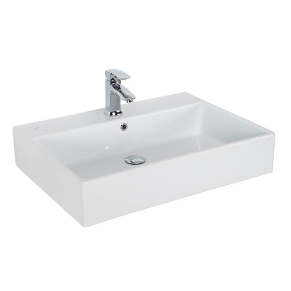 Simple Ceramic Ceramic Rectangular Vessel Bathroom Sink with Overflow by WS Bath Collections