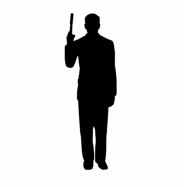 Secret Agent Spy with Gun Silhouette Cardboard Stand-Up by Advanced Graphics