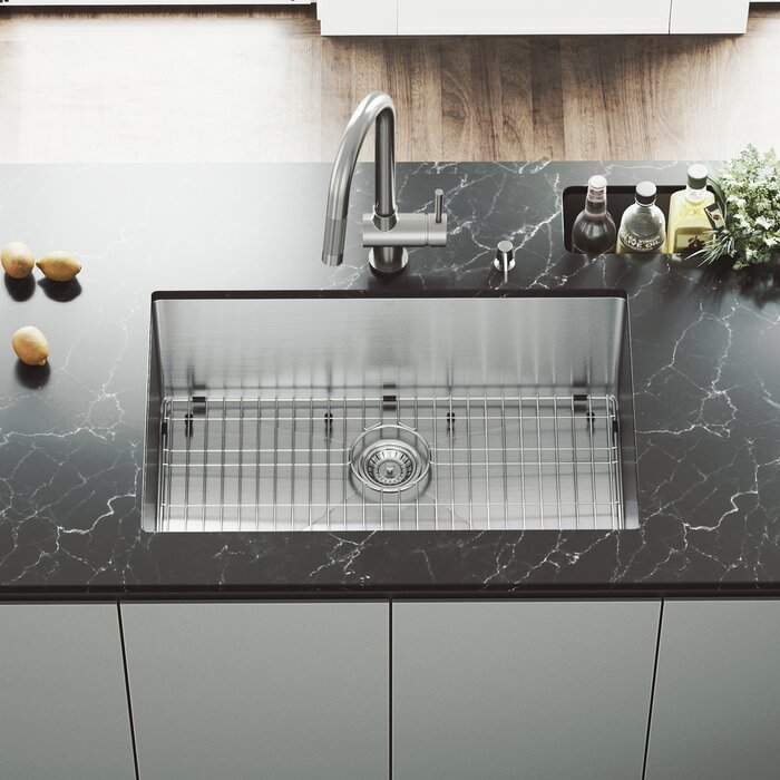 Mercer 30 inch Undermount Single Bowl 16 Gauge Stainless Steel Kitchen Sink  with Gramercy Stainless Steel Faucet, Grid, Strainer and Soap Dispenser