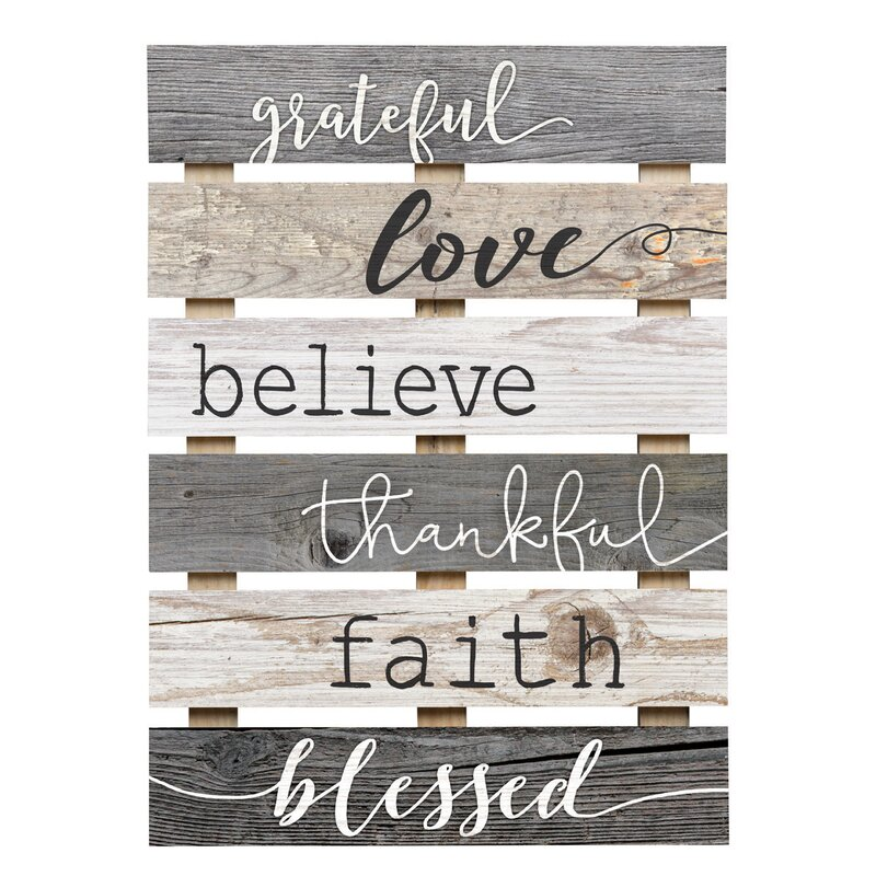 Skid Sign Grateful Love Believe Thankful Faith Blessed Wall