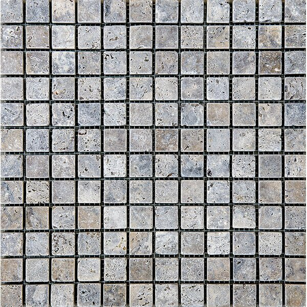 Tumbled 1 x 1 Stone Mosaic Tile in Silver by Parvatile