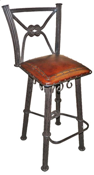 Chaucer Traditional 30 Metal Bar Stool with Leather Seat (Set of 2) by Fleur De Lis Living