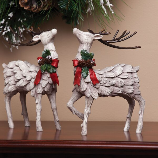 Myrtle Decorative Christmas Deer Figurine Set (Set of 2) by Darby Home Co