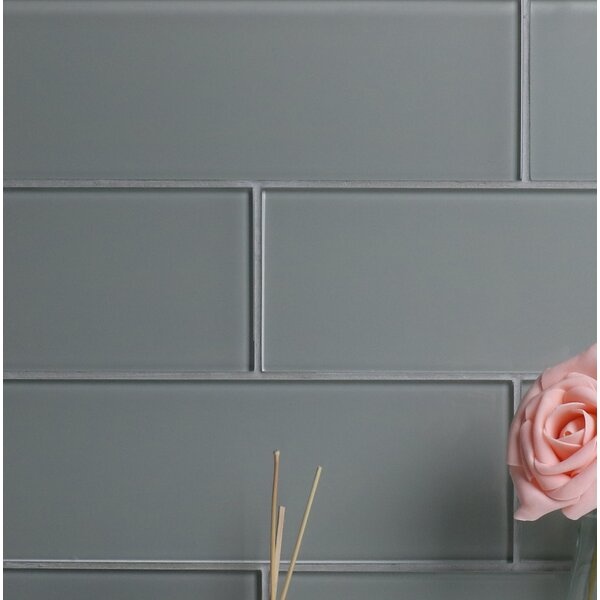 Premium Series 4 x 12 Glass Subway Tile in Glossy Soft Gray by WS Tiles
