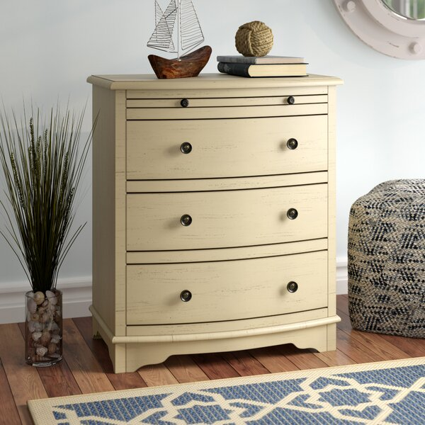 Dubreuil 4 Drawer Chairside Accent Chest in Ivory by Beachcrest Home