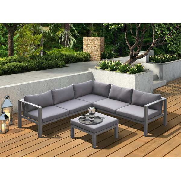 Cublington Outdoor 4 Piece Sectional Seating Group by Latitude Run