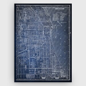 'Chicago Sketch Map' Graphic Art Print on Wrapped Canvas in Blue by Wexford Home