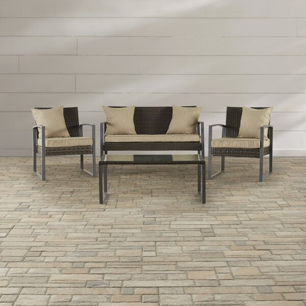 Seymour 4 Piece Sofa Set with Cushions by Wrought Studio