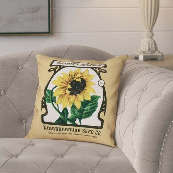 Swan Valley Sunflower Floral Outdoor Throw Pillow by August Grove