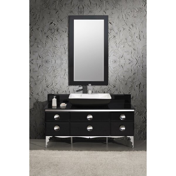 Moselle 59 Single Modern Glass Bathroom Vanity Set with Mirror by Fresca