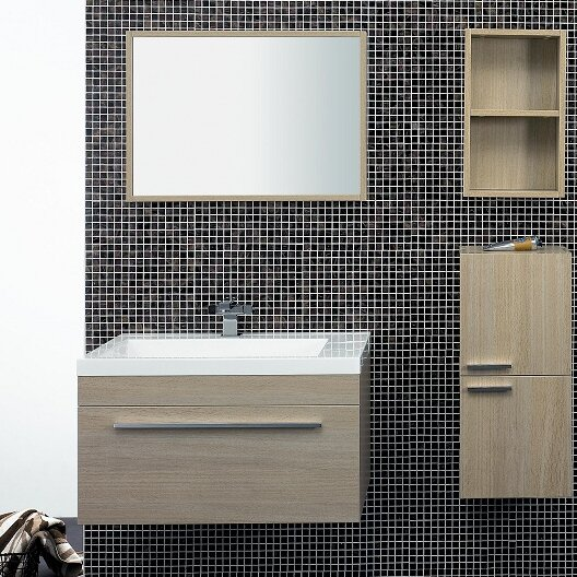T 30 Wall-Mounted Single Bathroom Vanity Set with Mirror by Tonusa