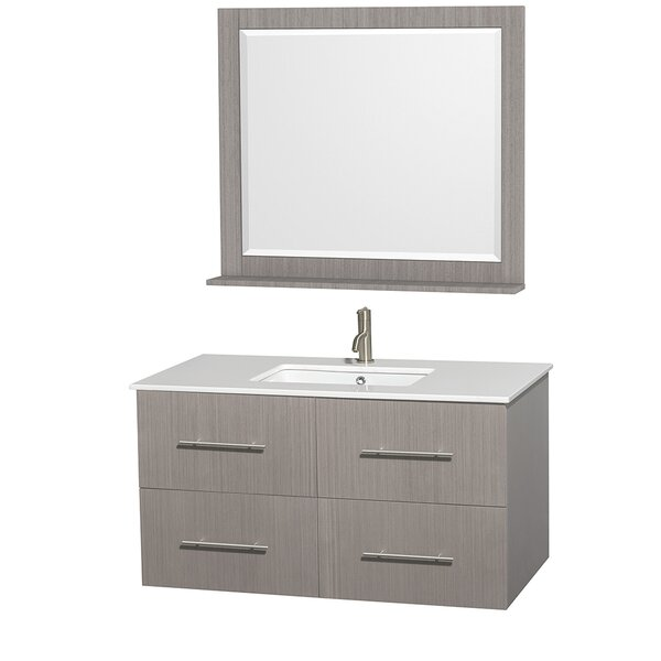 Centra 42 Single Gray Oak Bathroom Vanity Set with Mirror by Wyndham Collection