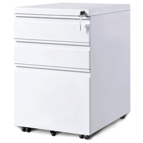 3-Drawer Mobile Vertical Filing Cabinet