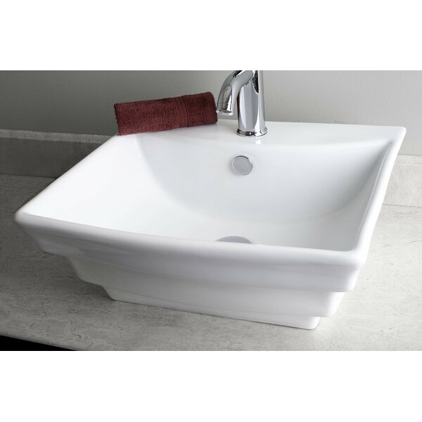 Ceramic Rectangular Vessel Bathroom Sink with Overflow by Royal Purple Bath Kitchen