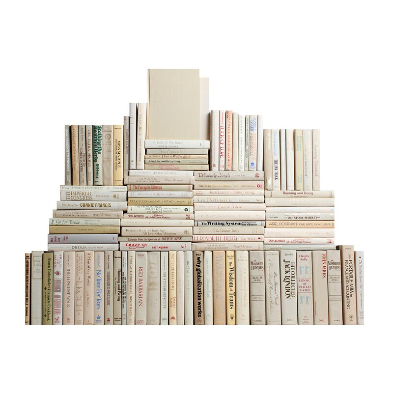 Authentic Decorative Books By Color Modern Beach Book Wall Set Of 100 10
