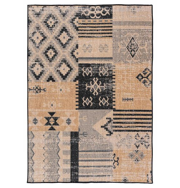 Tseng Reversible Black/Brown Indoor/Outdoor Area Rug by Millwood Pines