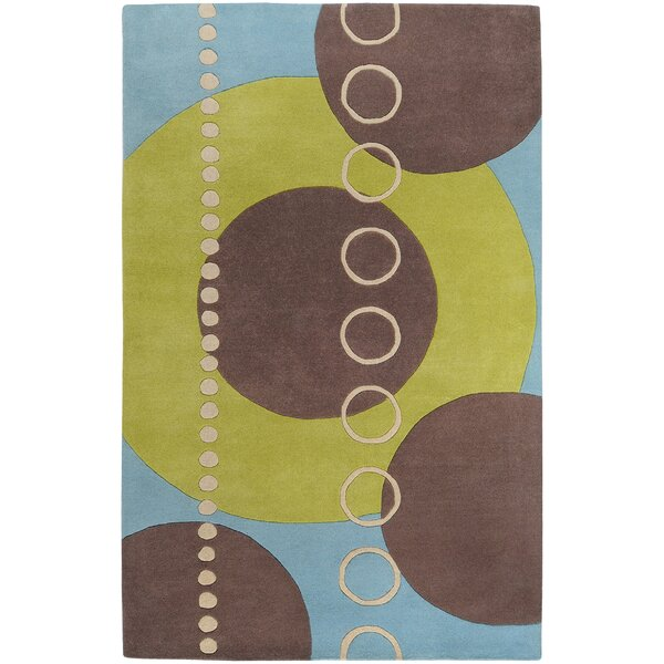 Dewald Sky/Brown Circle Area Rug by Ebern Designs
