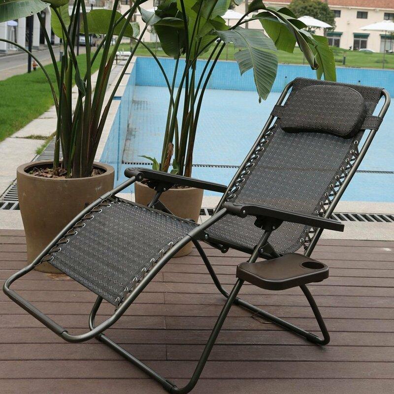 Elegant Reclining Folding Zero Gravity Chair With Cushion