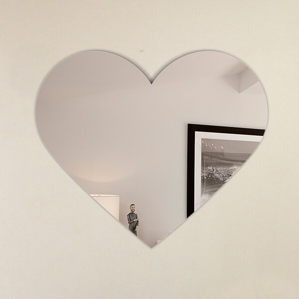 Heart Shape Frameless Wall Mirror with Hooks by Fab Glass and Mirror