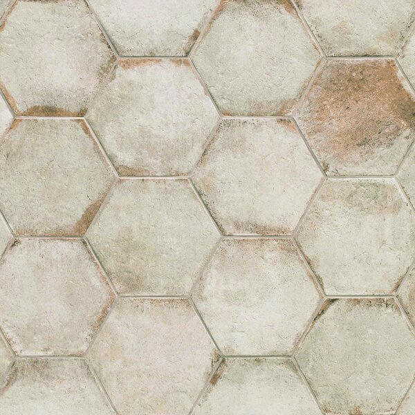 Relic Hex 11 x 12.63 Porcelain Field Tile in Bianco by EliteTile