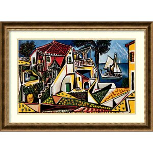 'Paysage Mediterraneen' by Pablo Picasso Framed Painting Print by Amanti Art